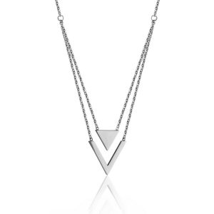 """T0X8990118 $30.00 STEELX High Polished 2 Layer """"V"""" Necklace"""