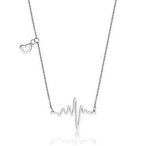 T0X9440116 STEELX Stainless Steel Heart Beat Pendant with Heart Accent