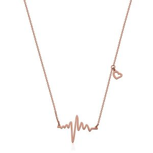 T0X9440316 STEELX IP Rose Heart Beat Necklace